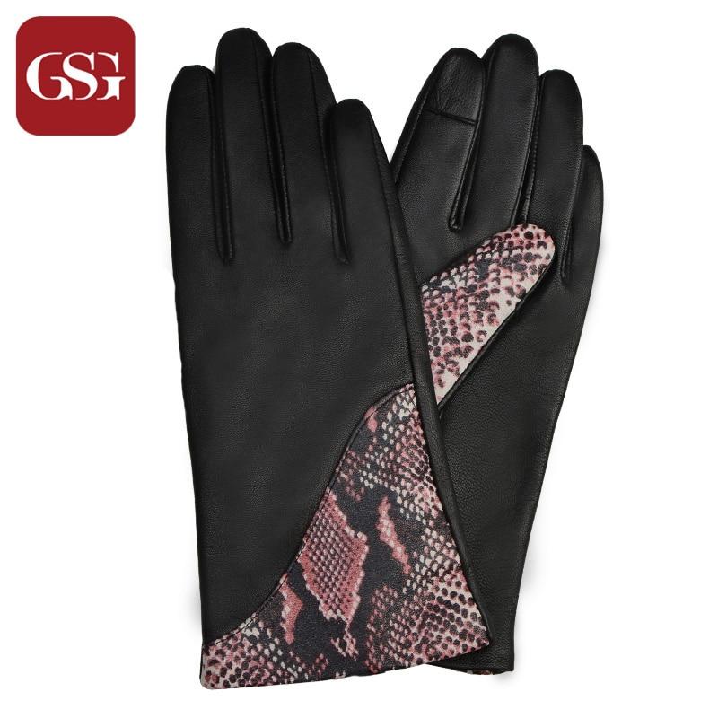 Modne žene kožne rukavice osjetljive na dodir zakrpljene zmijske - Pribor za odjeću - Foto 4