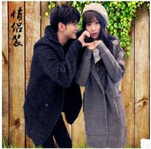 2018 Newest Spring And Autumn Couples Long Section Solid Color Knit Casual Jacket Hooded Lovers Sweater Outwears Jackets K526