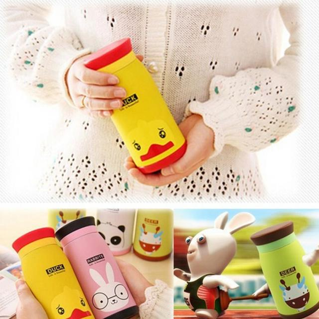 350ml Thermos Mug Insulated Tumbler Travel Cups Stainless Steel Thermo Vacuum Cup Flasks for Office Cartoon Animal Pattern