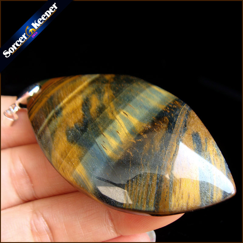 Real Natural Blue Tiger Eye Beads Gem Stone Water Drop Necklaces & Pendants Wholesale Reiki Healing Jewelry for Brave Man RS120