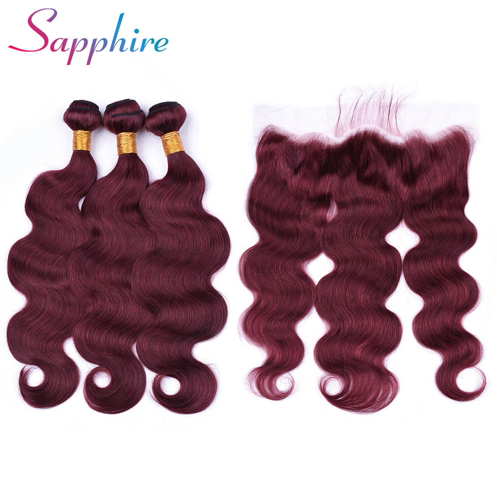 Sapphire Hair 3 Bundles Brazilian Body Wave With Frontal 99J Color remy Free Part Frontals With Bundles Human Hair