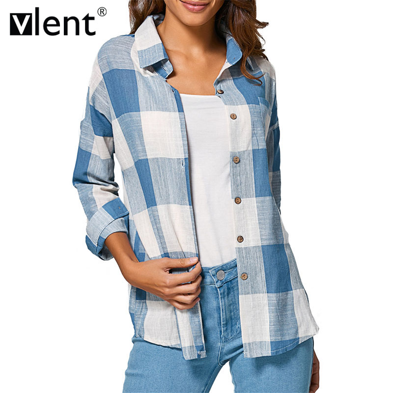 Online Get Cheap Blue Check Shirt for Women -Aliexpress.com ...