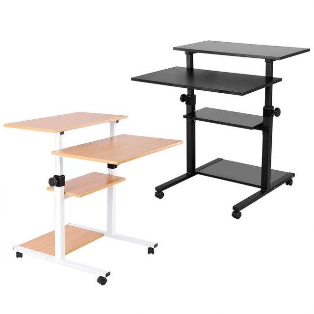 US $43 18 22% OFF|Wood Mobile Computer Desk Work Station Desk Adjustable  Height Rolling Presentation Computer Cart -in Laptop Desks from Furniture  on