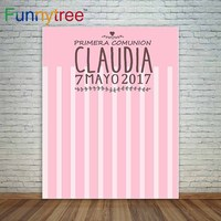 Pink Communion Background Girl First Communion Custom Background Stripes Photocall A Photo Party Cloths Polyester