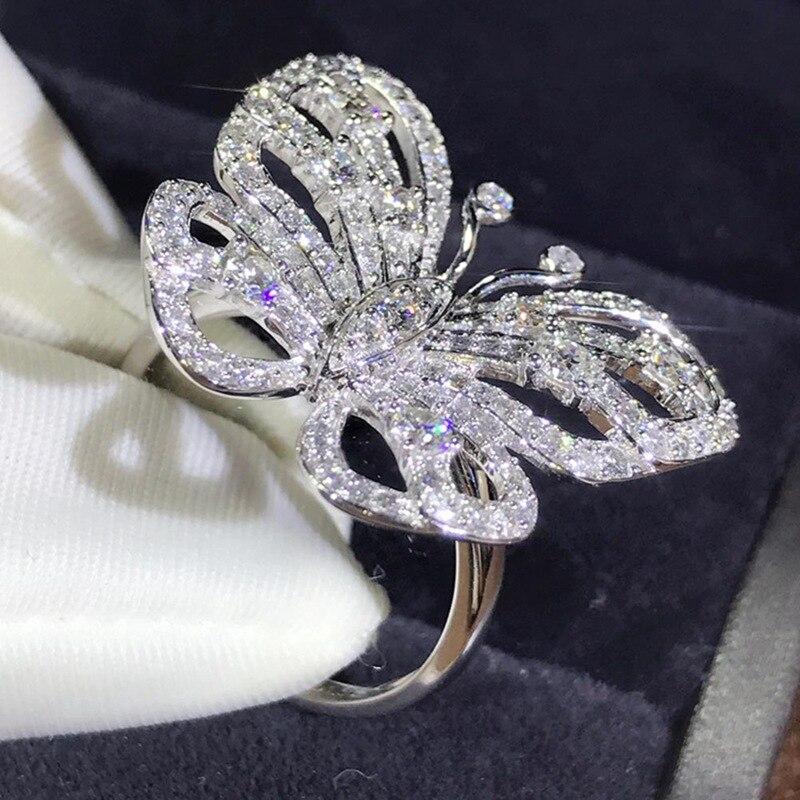 Jewelry Zircon Wedding-Ring Party-Ring Butterfly-Shape Women Lovely Luxury Beautiful