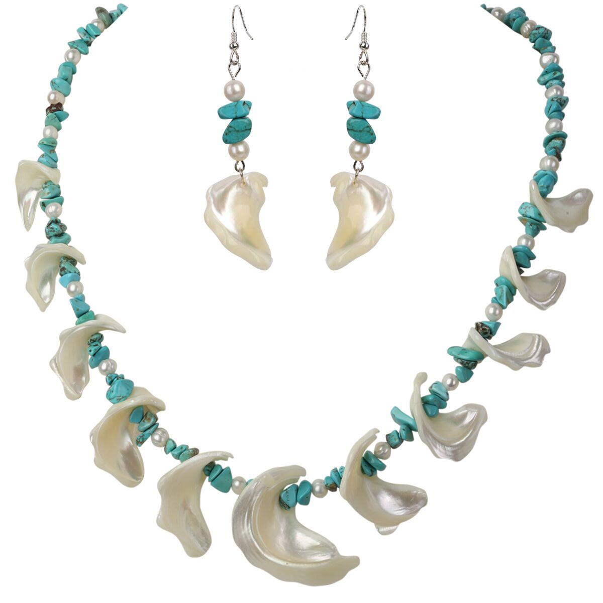 YACQ Pearl Turquoise Mother of Pearl 925 Sterling Silver ...