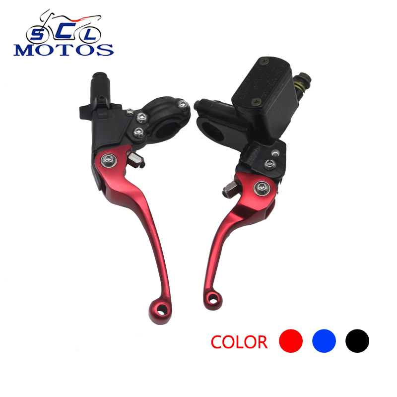Sclmotos- CNC Folding Brake Lever ASV Clutch Lever With Front Pump Fit Motorcycle Dirt Bike Motocross Off Road CRF KLX YZF RMZ
