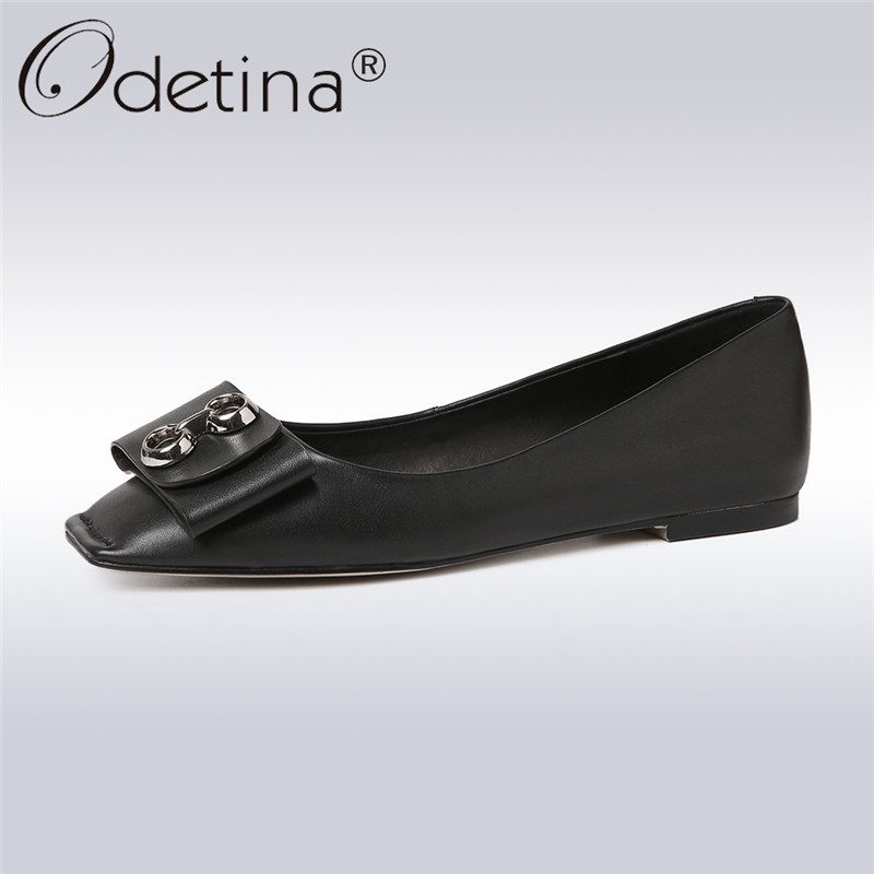 Odetina 2018 New Fashion Spring Geniune Leather Flats For Women Bowknot Soft Loafers Female Casual Slip On Square Toe Flat Shoes odetina 2017 new women pointed metal toe loafers women ballerina flats black ladies slip on flats plus size spring casual shoes
