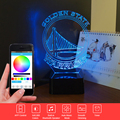 Cambio de Color de Luz Nocturna en 3D LLEVÓ La Lámpara NBA Warriors Música LED Lámpara de Mesa Táctil de Iluminación USB Remoto Nightlihgt para Niños regalo