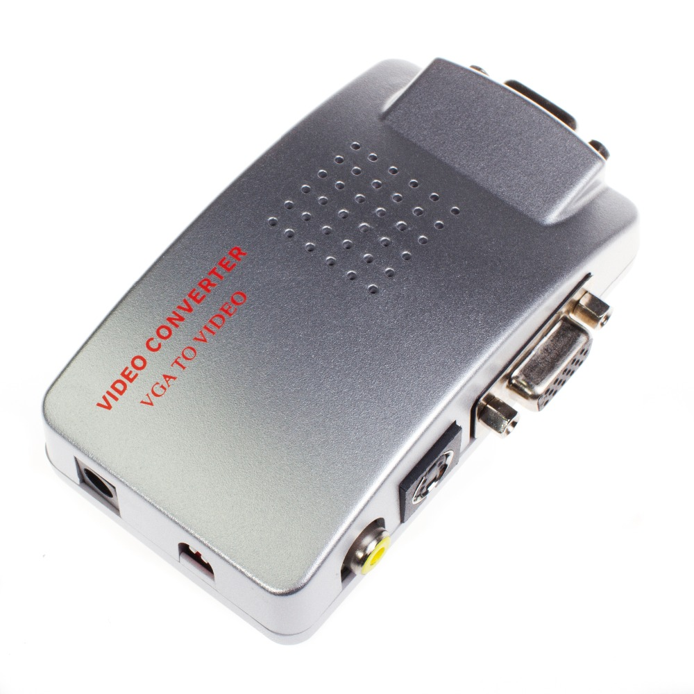 Wholesale Universal PC VGA to TV AV RCA Signal Adapter Converter Video Switch Box Supports NTSC PAL System Free Shipping  pc to tv video converter adapter deep blue