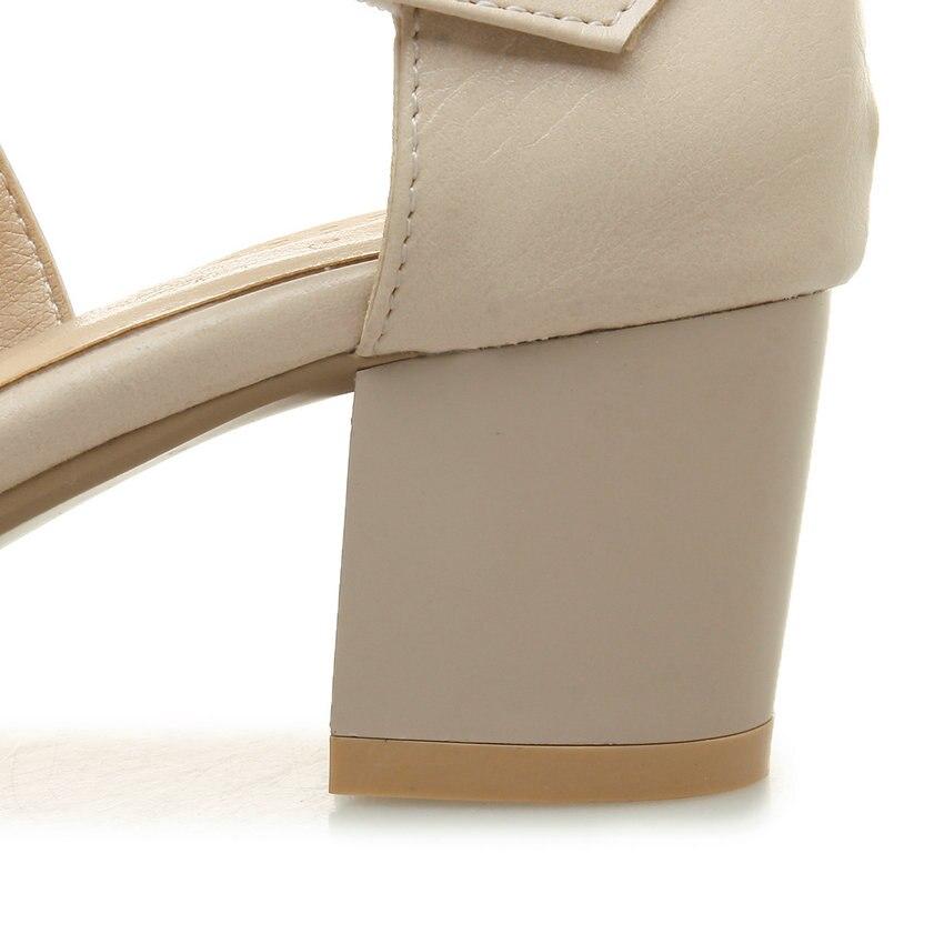 giallo Sandals rosa Buckle Beige 2019 Punta Spring 43 bianco 34 Esveva Tacco Square rotonda Size Autumn alto pumps Elegant Shoes Openwork Donna H0zS1