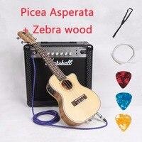 Cutaway Acoustic Electric Concert Tenor Ukulele 23 26 Inch Mini Hawaiian Guitar 4 Strings Picea Asperata