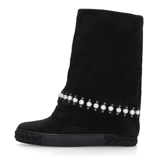 Spring New Woman Casual Solid Black String Bead Pearls Height Increasing 8 cm Wedge Heel Mid-calf Round Toe Short Slip On BootsSpring New Woman Casual Solid Black String Bead Pearls Height Increasing 8 cm Wedge Heel Mid-calf Round Toe Short Slip On Boots