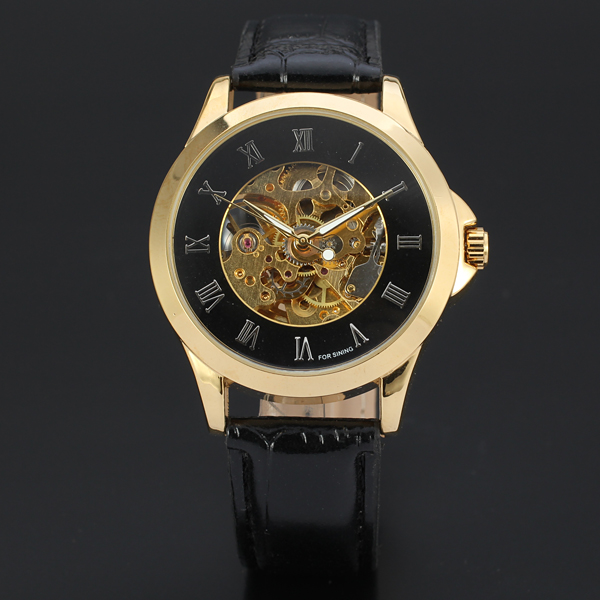 2017 Fashion Roman Numbers Design Genuine Leather Strap Gold Case Men Watch Top Brand Luxury Clock Automatic Mechanical Watches