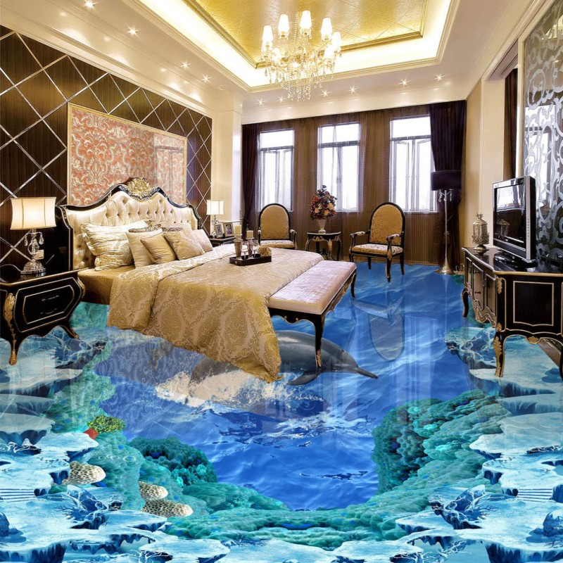 Free shipping custom Dolphin Ocean 3D Floor living room bathroom ...
