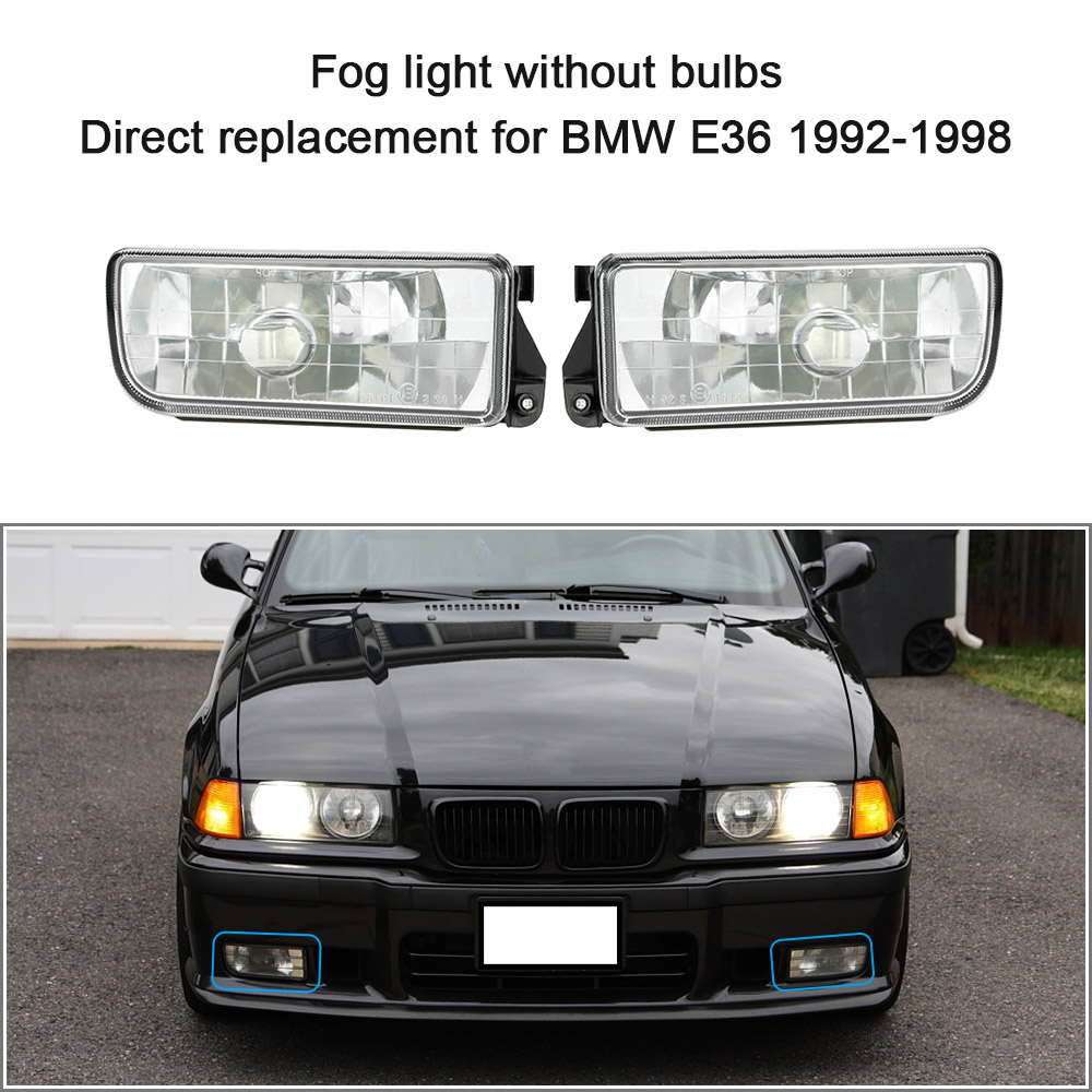 Car-styling Front Fog Light for BMW E36 1992-1998 H1 Base without Bulbs Car-detector Headlights Lens Lamp Daytime Running Lights