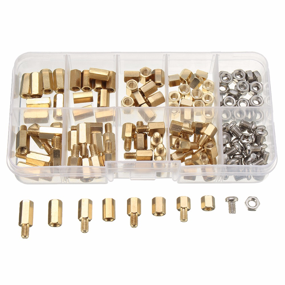 136PCS M4 Brass Screw Nut Spacers Standoff PCB Board Male Female Assortment Box