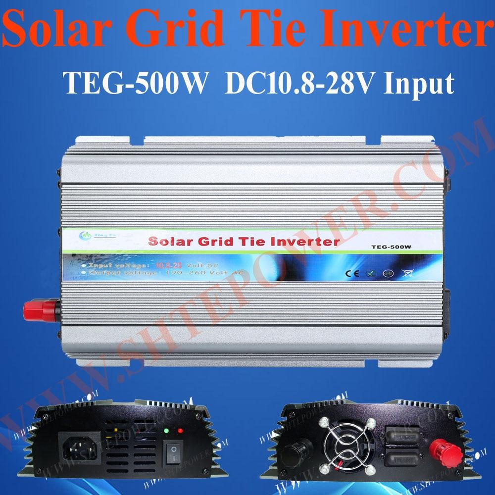 DC 10.5-28v input mppt inverter grid connect inverter 500w for grid tie solar system