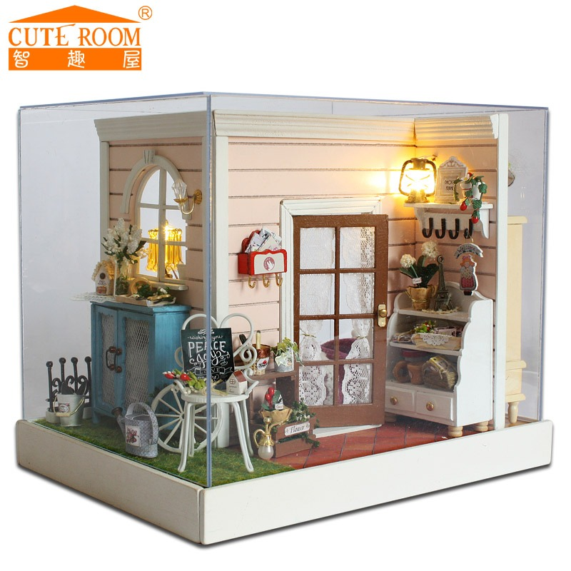 Assemble DIY Doll House Toy Wooden Miniatura Doll Houses Miniature  Dollhouse Toys With Furniture LED Lights Birthday Gift Z 001 In  Architecture/DIY ...