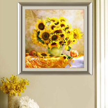 5D Diamond Painting Sunflower DIY Handmade Round Full By Numbers Cross Stitch Christmas Gift