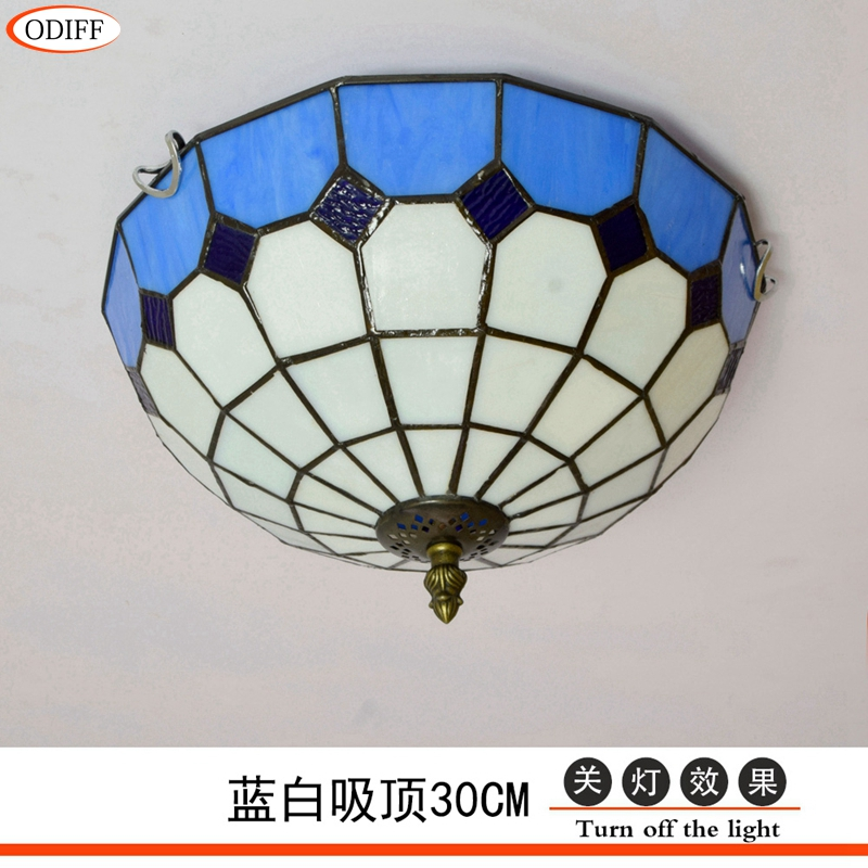Mediterranean simplicity blu stained glass Balcony Bedroom Aisle corrido bathroom staircase Ceiling Lights lamp 12inchs 110-240V