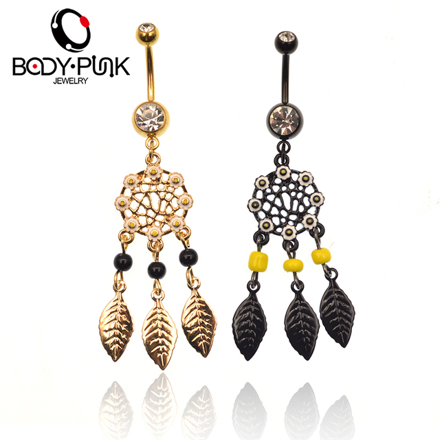 BODY PUNK Dream Catcher Black Gold Belly Button Rings 316L