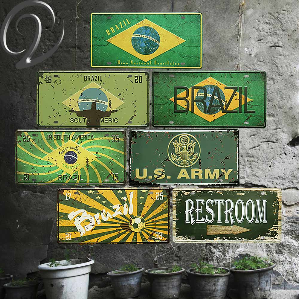 Bar Pub Vintage Metal Tin Signs Plaques Brazil Poster License Plate Collection Garage Man Cave Wall Decor Crafts Wall Sticker