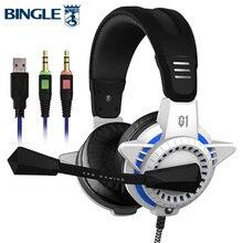 Bingle G1PLUS удобную посадку ПК PS4 Usb игровая гарнитура С микрофоном светодиодные игры Игровые наушники для Xbox One 360 Игровые приставки