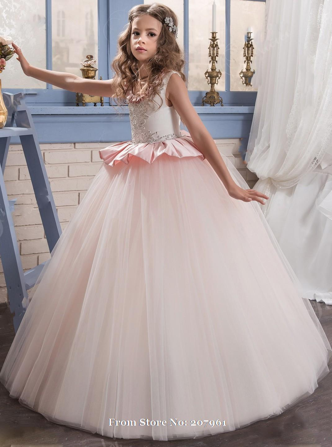 Romantic 2016 Pink Puffy Flower Girl Dress for Weddings