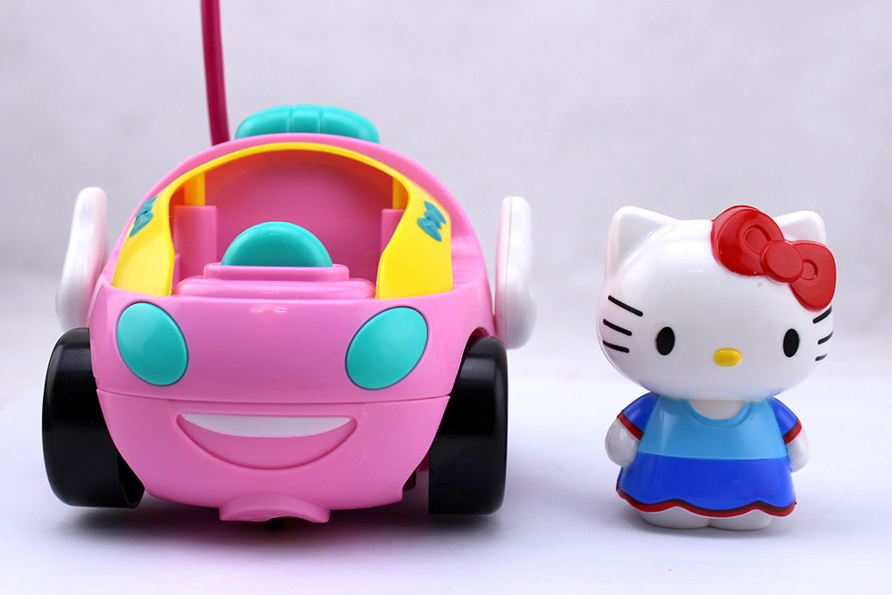 hot sale toy rc hello kitty remote control car pink kt doraemon electric with music light