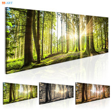 Sunshine Green Tree Prints Forest Landscape Poster