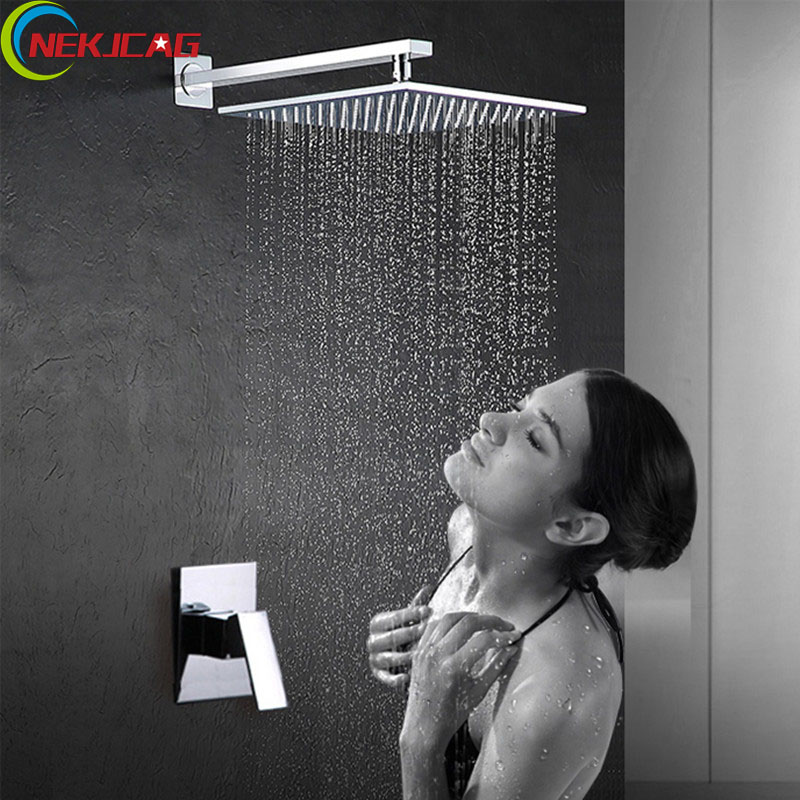 Wall Mounted Rain Shower Faucet Chrome Shower Pannel Square Shower Head Bathroom Shower Set new promotion bathroom wall mounted shower faucet adjustable height 8 plastic head shower chrome