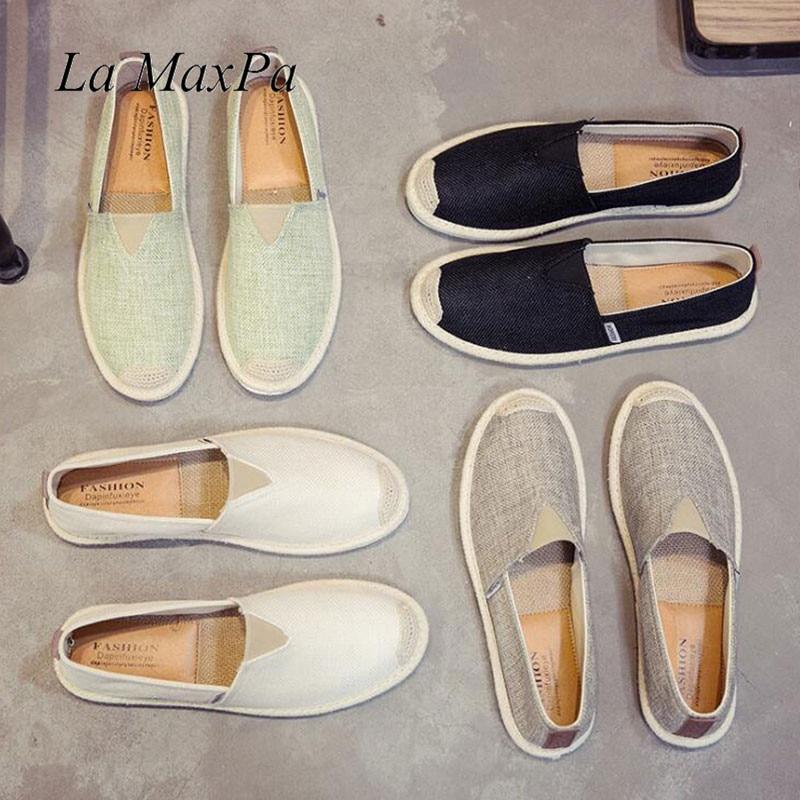 Men Hemp Slip-On Fisherman Shoes 2018 Brand New Plus Size 39-45 Breathable Espadrilles Flats Solid Moccasins Casual Flats Shoes все цены