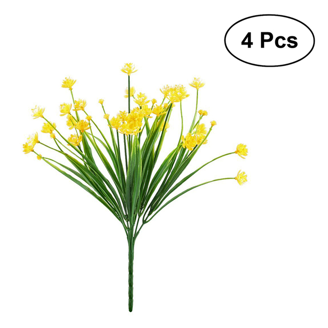 4pcs artificial flowers faux yellow daffodils greenery shrubs plants