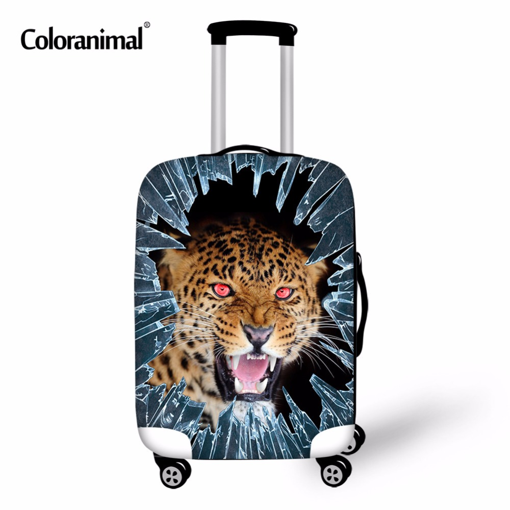 Coloranimal Tiger Printing Suitcase Luggage Protect Cover Travel Suitcase Dust Cover Trolley Case Elastic Cover For 18-30 Inch