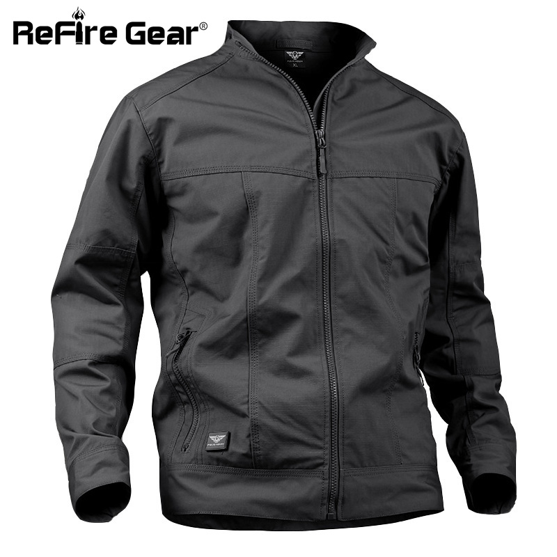 ReFire Gear Waterproof Breathable Tactical Jacket Men Cotton Fabric Windbreaker Military Jackets Casual Windproof Army Coats 3XL