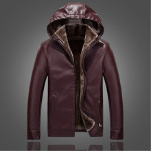 2016 winter new men's solid color casual hooded leather collar son of a middle-aged fox plush interior for business people