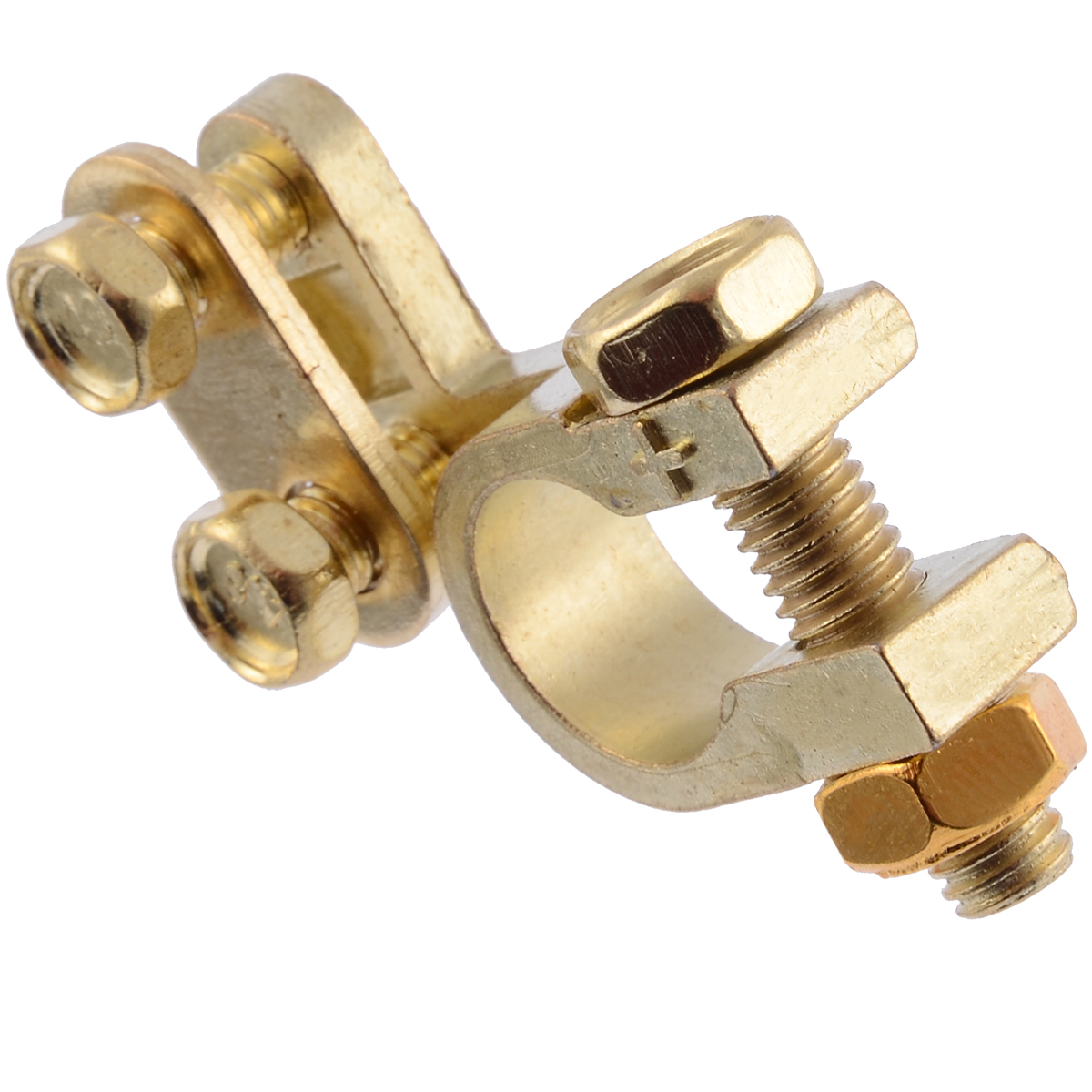 2Pcs Car Battery Terminals Clamps Pair Screw Connection Positive & Negative Brass Cables Connectors Accessories
