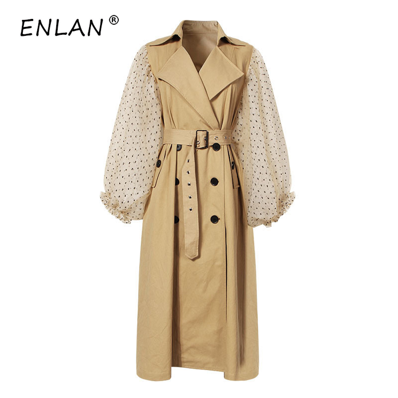 2019 Autumn Winter High Quality Polka Dot Mesh Lantern Sleeves Double breasted Khaki Fashion Long   Trench   Coat for Women Belted