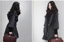 Fashion Casual Hooded Large Size Women Spring Jackets Drawstring Slim wool coat female fashion