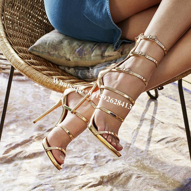 ФОТО Sexy Glossy Gold Caged Party Stiletto Heel Shoes Summer Ankle Boots Women Peep Toe Strappy Gladiator Sandals Women Party Pumps