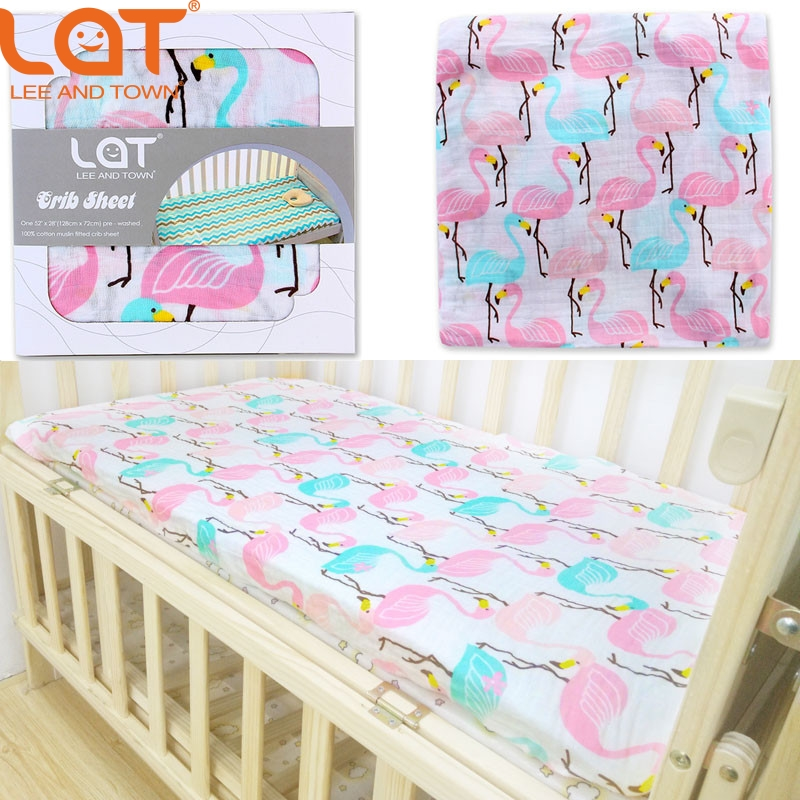 LAT 100% Cotton Muslin Soft Fitted Crib Sheet 28X52(Standard Size Crib) Soft Bedding Sheet Sets Mattress Cover Bedspeard Sheet ...