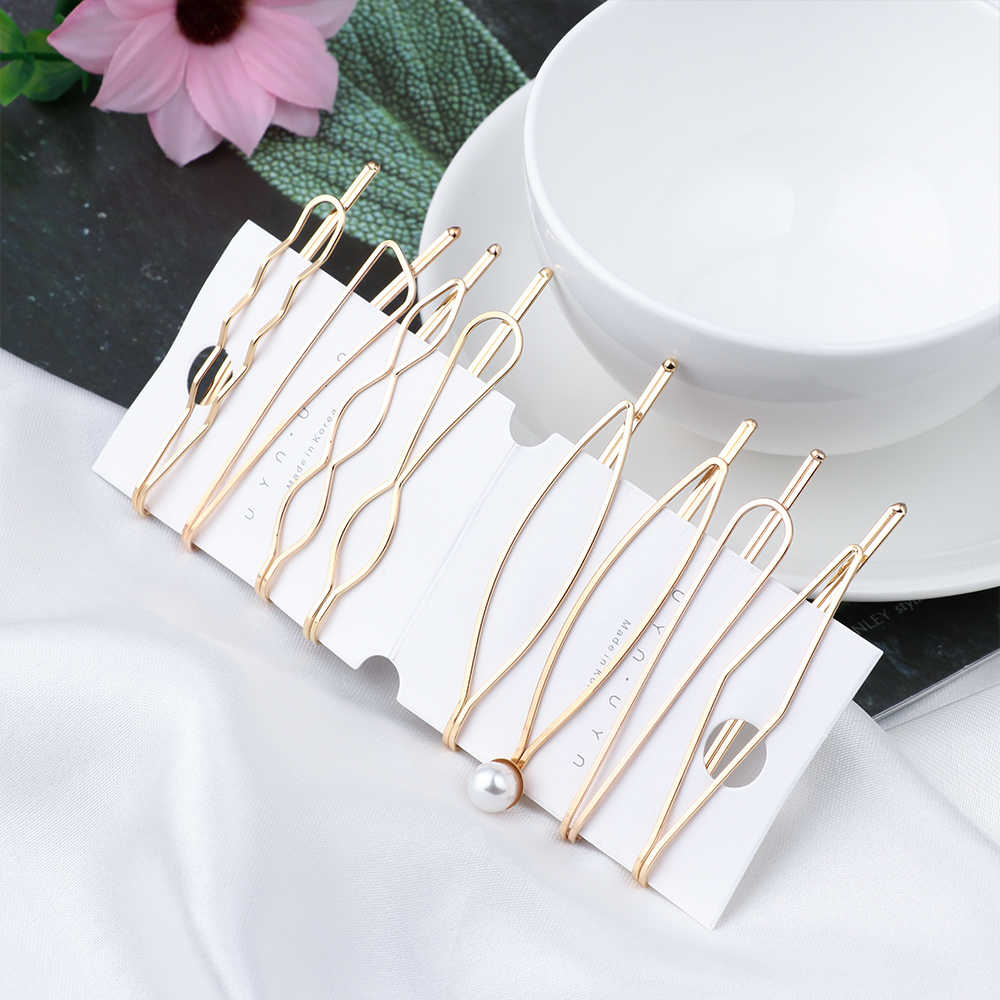 1 Set Korea Simple Metal Pearls Hair Clips Geometric Rhombus Gold Silver Color Hairpins Hair Styling Tool Accessories for Women