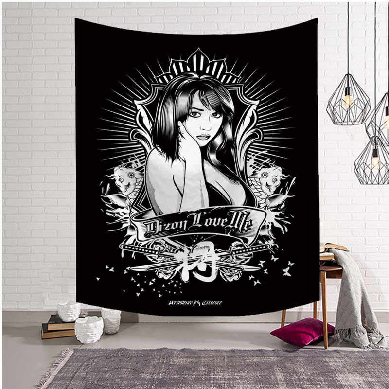 Japanese Darkness Style Gothic Metal Skull General Tribal Gear Tapestry  Wall Hanging Decor Hippie Yoga Mat Beach Throw Drop Ship