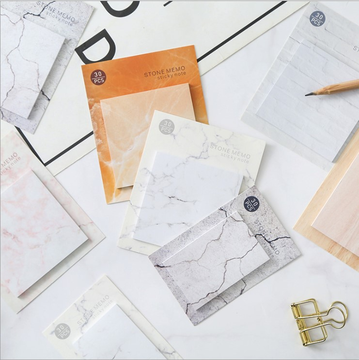 1Set Memo Pads Sticky Notes  Marble Pattern Paper Notepad Diary Scrapbooking Stickers Office School Stationery Notepads