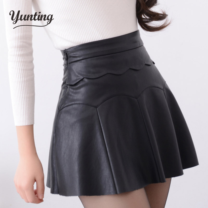 2016 Autumn Vintage Women Fashion Korean Sexy Pleated Skirt High Waist Black Red PU Leather Skirts