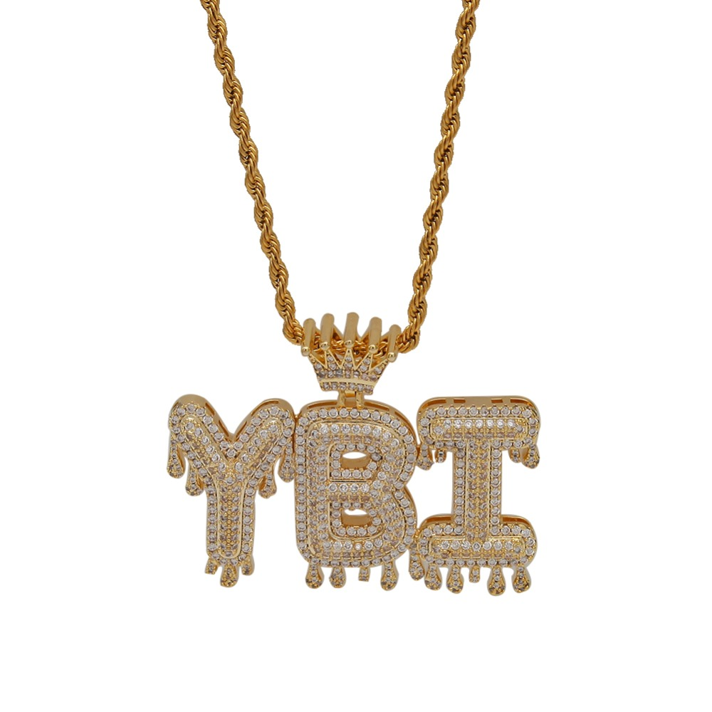 Image 2 - Uwin Crown Initial Letter Pendant Necklace Customzie Bubble Initial Letters Gold Silver Rose Gold Color Words Name OEM LINK-in Chain Necklaces from Jewelry & Accessories