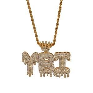 Image 2 - Uwin korona początkowa litera naszyjnik Customzie Bubble początkowe litery złoto srebro różowe złoto kolor słowa nazwa OEM LINK