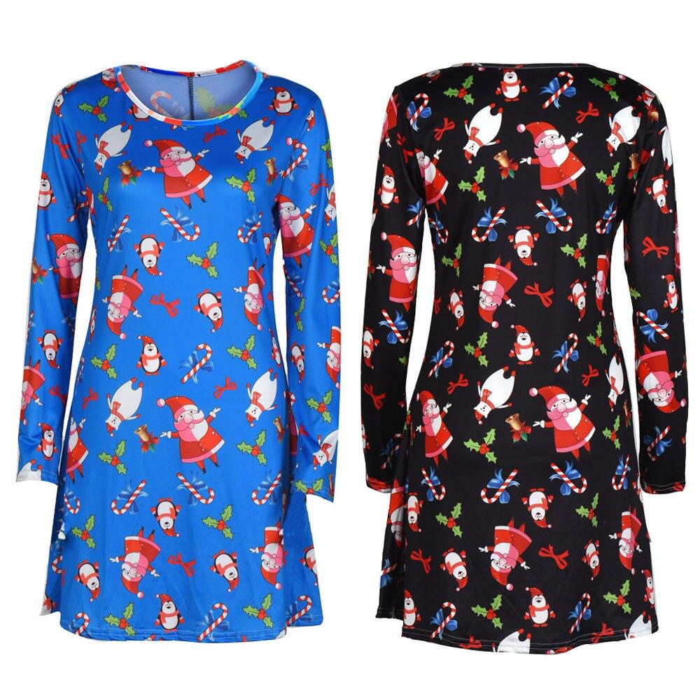Vestido kausalen weihnachten eine linie frauen mini dress schneemann ...