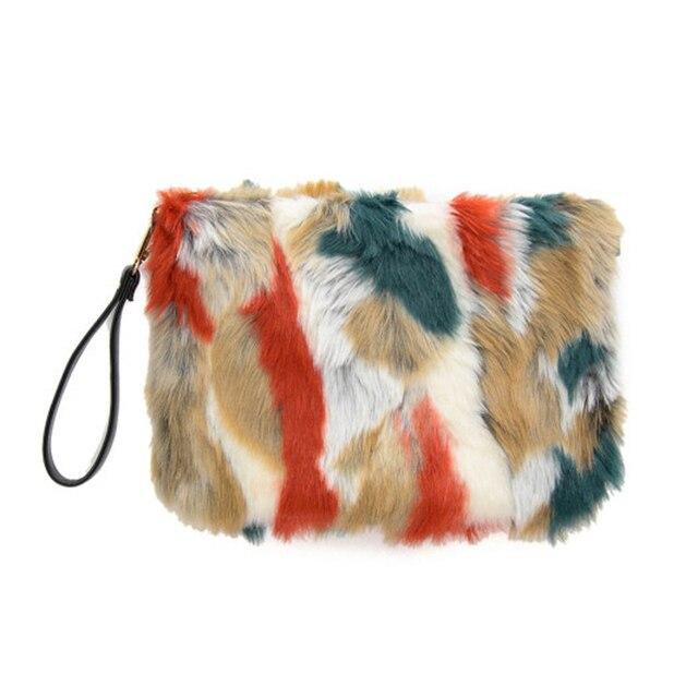 Winter Faux Fur Rabbit Hair Clutch Bag Patchwork Color Mink Day Clutch Handbags Plush Evening bag 907